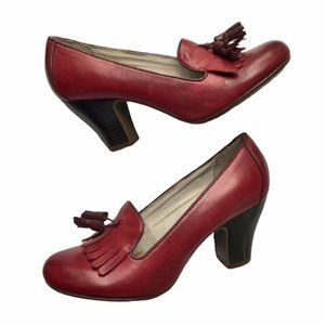 Hush Puppies Red Leather Lonna Loafer Tassel Heels